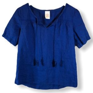 Lands' End Royal Blue Linen Short Sleeve Blouse